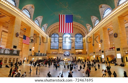 NEW YORK CITY, NY - AUG 8: Grand Central is the second busiest station of the New York City Subway system with 42,002,971 passengers in 2009. August 8, 2010 in Manhattan, New York City. - stock photo