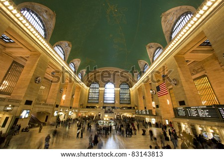 NEW YORK CITY, NY - JAN 1. Grand Central, as seen on  January 1, 2011 in Manhattan, New York City, is the second busiest station of the New York City Subway system with 42,002,971 passengers in 2009. - stock photo