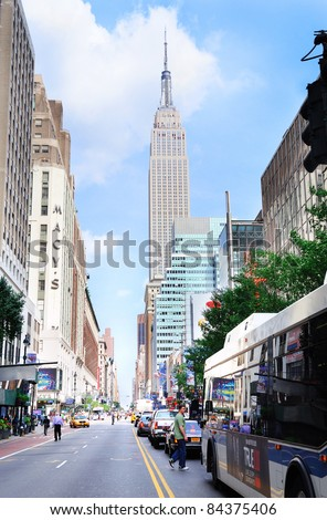 NEW YORK CITY, NY - JUN 21: Empire State Building with street on June 21, 2011 in New York City. Empire State Building is a 102-story landmark and was world's tallest building for more than 40 years. - stock photo