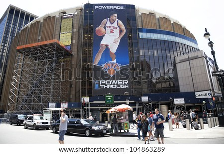 NEW YORK CITY, NY - JUNE 3: Madison Square Garden is an indoor arena that sits above Penn Station. It is home to the NY Knicks (NBA), NY Rangers (NHL) and NY Liberty (WNBA), June 3rd, 2012 in NYC - stock photo