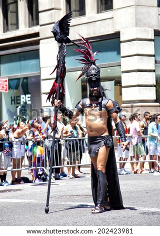 New York City, NY - June 29th, 2014: LGBT Pride Parade in New York City, NY on June 29th, 2014.LGBT pride march takes place during pride week and is the culmination of week long festivities.