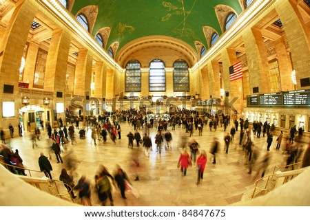 NEW YORK CITY, NY - March 6. Grand Central, as seen on March 5, 2011 in Manhattan, New York City, is the second busiest station of the New York City Subway system with 42,002,971 passengers in 2009. - stock photo