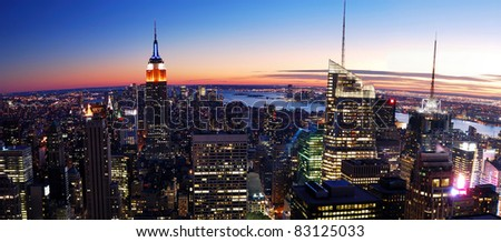 NEW YORK CITY, NY - NOV 13: New York City skyline at dusk on November 13, 2010. New York City is an important center for international affairs and is widely deemed the cultural capital of the world. - stock photo