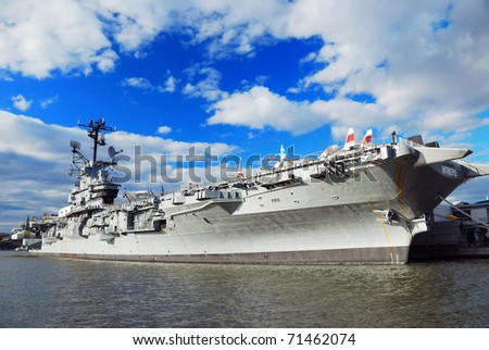 NEW YORK CITY, NY - NOV 2: USS Intrepid (CV/CVA/CVS-11) is one of 24 Essex-class aircraft carriers built during World War II for the United States Navy, November 2, 2010 in Manhattan, New York City. - stock photo