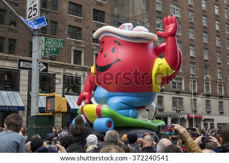 NEW YORK CITY, NY - NOVEMBER 26 : Kool-Aid float at Macy's 89th Annual Thanksgiving Day Parade on November 26, 2015 in New York City, New York. - stock photo