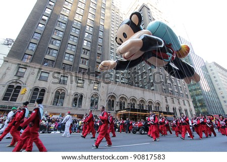 NEW YORK CITY, NY - NOVEMBER 24: Paul Frank Julius balloon floats in the Macy's 85th Annual Thanksgiving Day Parade on November 24, 2011 in New York City, New York. - stock photo