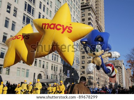 NEW YORK CITY, NY - NOVEMBER 24: Sega's Sonic The Hedgehog at the beginning of the Macy's 85th Annual Thanksgiving Day Parade on November 24, 2011 in New York City, New York. - stock photo