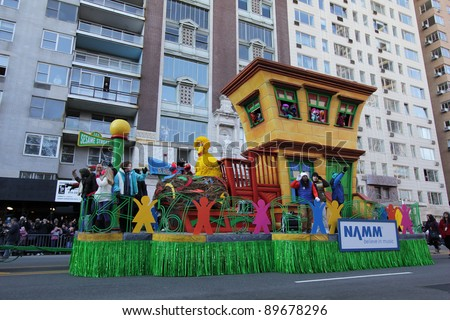 NEW YORK CITY, NY - NOVEMBER 24: Sesame Street with Big Bird float in the Macy's 85th Annual Thanksgiving Day Parade on November 24, 2011 in New York City, New York. - stock photo