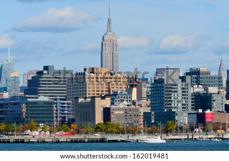 NEW YORK CITY, NY - OCT 29: Midtown and the Empire State Building on oct. 29, 2013 in New York City. Empire State Building is a 102-story landmarnd was world's tallest building for more than 40 years