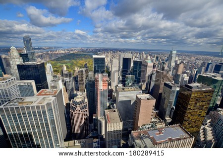 NEW YORK CITY, NY - OCT 29: Midtown New York from the  Rockefeller Center on oct. 29, 2013 in New York City.  - stock photo