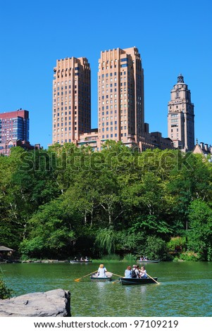 NEW YORK CITY, NY - Oct 21: People boating in Central Park on October 21, 2010 in New York City. It is the most visited urban park in the United States as a National Historic Landmark since 1963. - stock photo