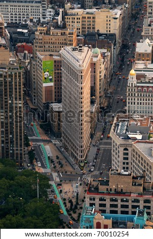 NEW YORK CITY, NY - SEP 11: Flat Iron building is considered to be one of the first skyscrapers ever built. September 11, 2010 in Manhattan, New York City. - stock photo