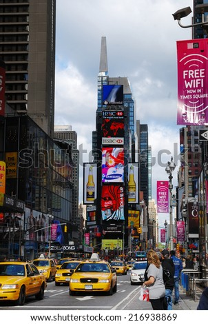 NEW YORK CITY, NY - SEP 5: Times Square is featured with Broadway Theaters and LED sign as a symbol of New York City and the United States, September 5, 2009 in Manhattan, New York City. - stock photo