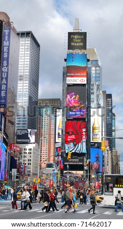 NEW YORK CITY, NY - SEP 5: Times Square is featured with Broadway Theaters and LED signs as a symbol of New York City and the United States, September 5, 2010 in Manhattan, New York City. - stock photo