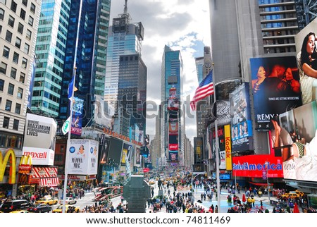 NEW YORK CITY, NY - SEP 5: Times Square is featured with Broadway Theaters and LED signs as symbol of New York City and the United States, September 5, 2010 in Manhattan, New York City. - stock photo