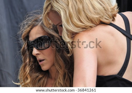 NEW YORK CITY, NY - SEPT 08: Kim Cattrall and Sarah Jessica Parker on set of new Sex and the City 2 movie on Sept 08, 2009 - stock photo