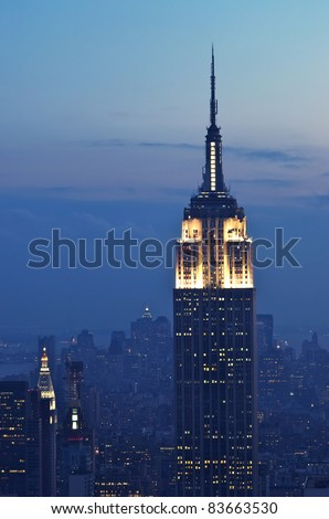 NEW YORK CITY, NY - SEPT 18: The Empire State Building was the world's tallest building (443,2 m) for more than 40 years. September 18, 2008 in Manhattan, New York Cit - stock photo