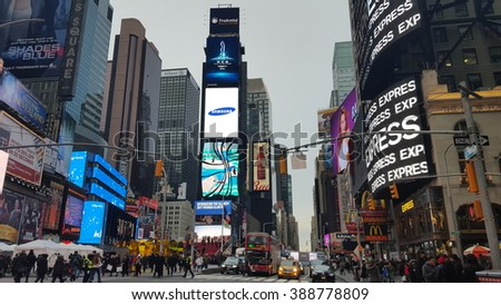 New York City, NY, USA - February 20, 2016: Times Square is one of the most famous places on Manhattan, New York City.