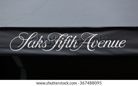 NEW YORK CITY, NY, USA - JULY 07, 2015: Saks Fifth Avenue awning during the Christmas Holiday season. This is the flagship store of the luxury retailer located on 5th Ave. in Manhattan. - stock photo