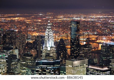 NEW YORK CITY, NY, USA - MAR 30: Chrysler Building at night on March 30, 2011 in Manhattan, New York City. It was designed by William Van Alena as Art Deco architecture and the famous landmark. - stock photo