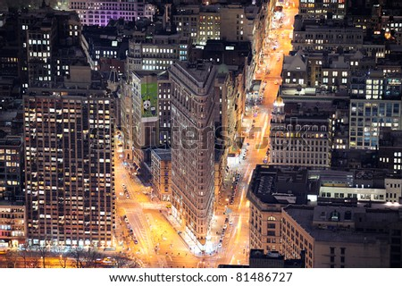 NEW YORK CITY, NY, USA - MAR 30: Flatiron Building at night on March 30, 2011 in Manhattan, New York City. Flatiron Building is designed by Chicago's Daniel Burnham and is New York City landmark. - stock photo