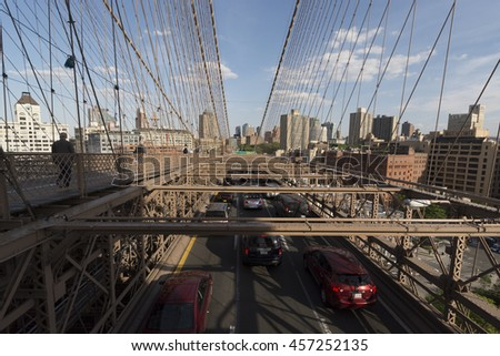 NEW YORK CITY, NY, USA - MAY: View from Brooklyn bridge with car traffic on May 20, 2014