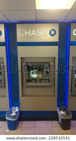 NEW YORK CITY - OCT. 23, 2014: A JP Morgan Chase Bank ATM machine in New York City - stock photo