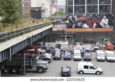 NEW YORK CITY - OCT 14: High Line Park in NYC seen on October 14th 2014.The High Line is a public park built on an historic freight rail line elevated above the streets on Manhattan`s West Side.  - stock photo