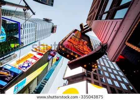NEW YORK CITY - OCT 25, 2015 in TIME SQUARE Manhattan, New York City. USA. - stock photo