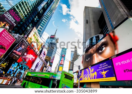 NEW YORK CITY - OCT 25, 2015 in TIME SQUARE Manhattan, New York City. USA. - stock photo