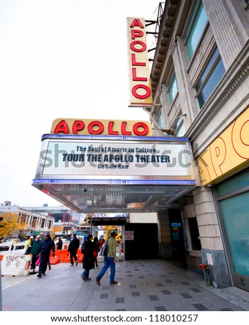 NEW YORK CITY - OCT 26: Marquee for Apollo Theater in Harlem, NYC on Oct 26, 2012. This historic music hall is one of the oldest in NYC and known exclusively with African-American performers.