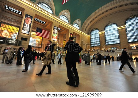 NEW YORK CITY - OCT 14 2009:Passengers at the Grand Central Station Manhattan in Manhattan New York City, USA.The Grand Central Terminal turns 100 in 2013 - stock photo