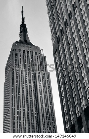 NEW YORK CITY - OCT 15:The Empire State Building.It's currently undergoing a $550 million renovation,with $120 million spent in an effort to transform the building eco-friendly structure. - stock photo