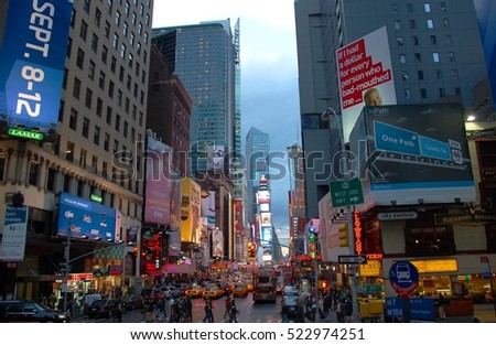 NEW YORK CITY - OCT 2, 2011: Times Square on Broadway at night wide angle, Manhattan, New York City, USA