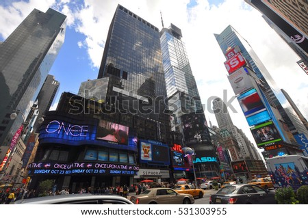 NEW YORK CITY - OCT 2, 2011: Times Square wide angle, Broadway, Manhattan, New York City, USA.