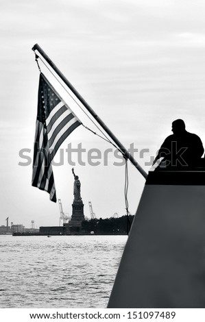NEW YORK CITY - OCT 15:Visitors to the Statue of liberty New York, USA. Following the September 11 attacks,the statue and Liberty Island were immediately closed to the public and reopened only in 2004 - stock photo