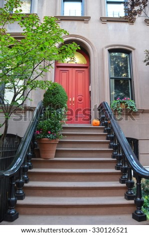 NEW YORK CITY - October 21, 2015: Buildings in West Village, Manhattan, NYC, USA. - stock photo