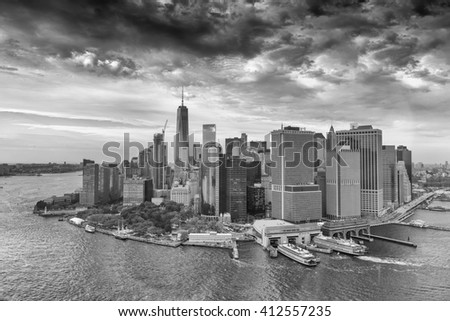 NEW YORK CITY - OCTOBER 22, 2015: City buildings and skyscrapers. New York is visited by 50 million people every year. - stock photo