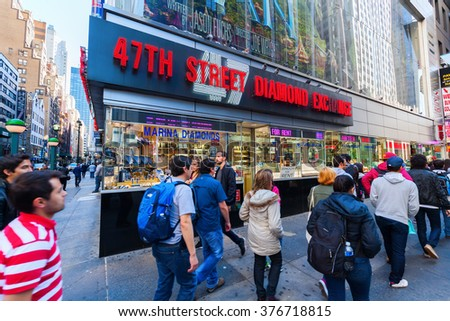 NEW YORK CITY - OCTOBER 10, 2015: diamond district in midtown Manhattan, with unidentified people. The area is one of the primary centers of the global diamond industry.  - stock photo