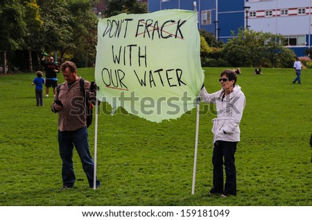 NEW YORK CITY - OCTOBER 19 2013: Environmental org, Food & Water Watch, sponsors a rally against fracking, an environmentally dubious method of extracting natural gas October 19 2013 in New York City