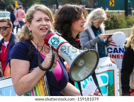NEW YORK CITY - OCTOBER 19 2013: Environmental org, Food & Water Watch, sponsors a rally against fracking, an environmentally dubious method of extracting natural gas October 19 2013 in New York City - stock photo