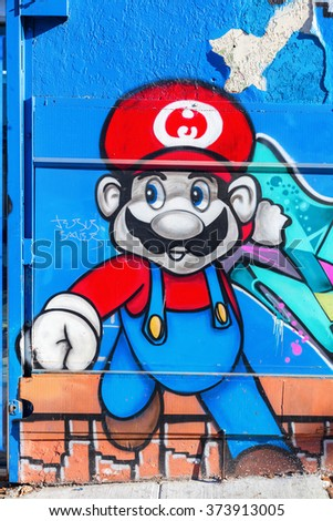 NEW YORK CITY - OCTOBER 11, 2015: graffiti of Super Mario in Hunts Point, Bronx. Super Mario is the most popular video game character of the world renown Nintendo company - stock photo