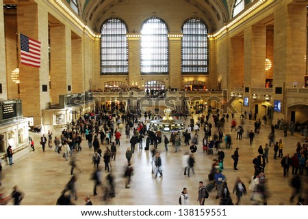 NEW YORK CITY - OCTOBER  12: Grand Central Station  in New York City, New York as seen on october 12, 2012. Grand Central Terminal is the world's largest train station by number of platforms.  - stock photo