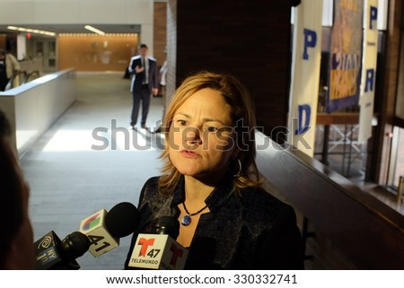 NEW YORK CITY - OCTOBER 21 2015: Mayor de Blasio & commissioner Bratton led a press conference about the killing of officer Randolph Holder by Tyrone Howard. City council speaker Melissa Mark-Viverito - stock photo