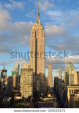 New York City - October 5, 2015: New York City Manhattan midtown view with the Empire State Building, New York City, USA.