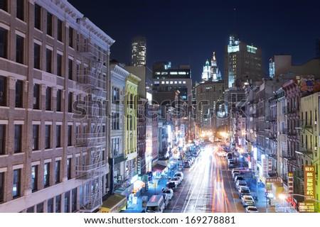 NEW YORK CITY - OCTOBER 27: Night scene in China town in Manhattan on October 27th, 2013 in New York City, USA - stock photo