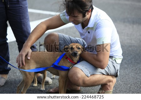 NEW YORK CITY - OCTOBER 18 2014: North Shore Animal League hosted its 70th annual adoption fall festival in Citi Field, Queens in conjunction with Sean Casey Animal Rescue & other organizations