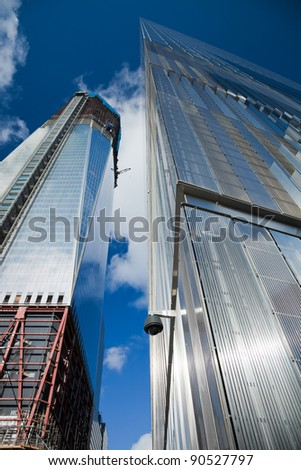 NEW YORK CITY - OCTOBER 3: One World Trade Center (formerly known as the Freedom Tower) is shown under construction on October 3, 2011 in New York, New York.