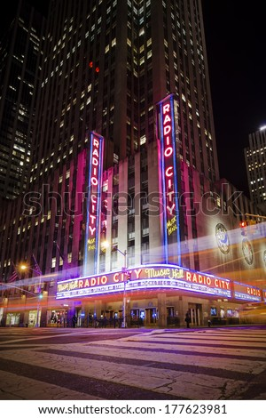 NEW YORK CITY - OCTOBER 21: Radio City Music Hall. 21, 2013 in New York, NY. An entertainment venue located in Rockefeller Center,  it was for a time the leading tourist destination in the city