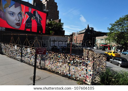 NEW YORK CITY - OCTOBER 17: The 9/11 Children Memorial in Greenwich Village on October 17 2009 in Manhattan New York. The Wall made from 5000 tile outside St. Vincents Hospital on Sept. 12, 2001 - stock photo